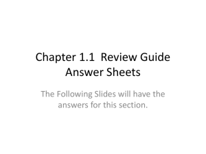 Chapter 1.1 Review Guide Answer Sheets
