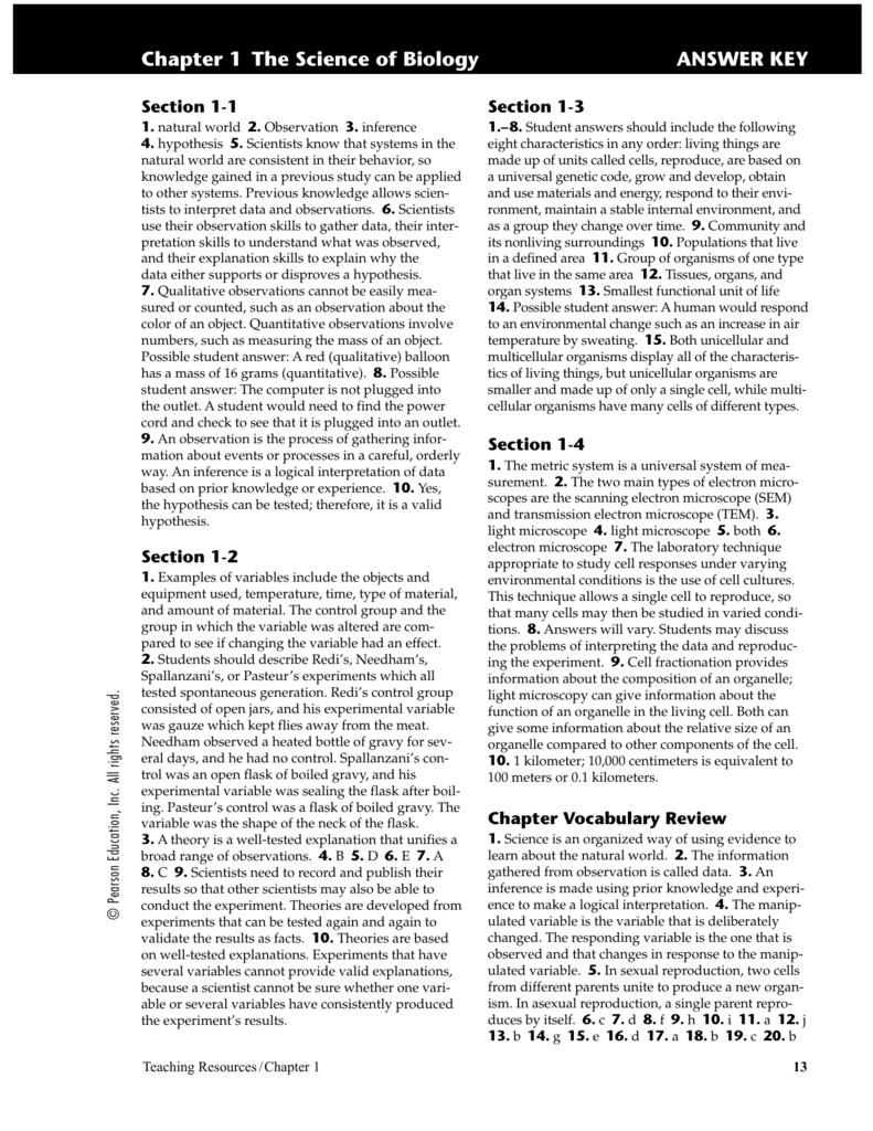 Chapter 1 The Science of Biology ANSWER KEY