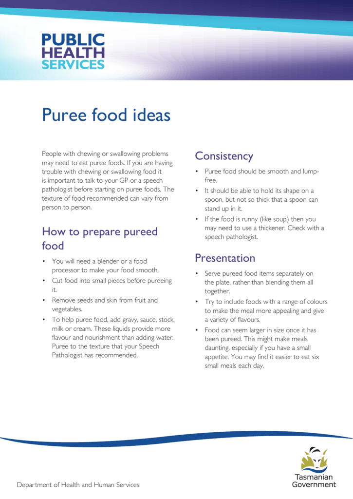 Puree food ideas - Department of Health and Human Services