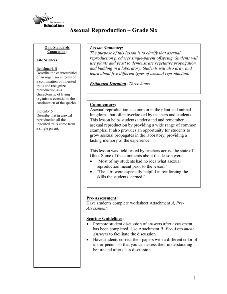 Asexual reproduction worksheets grade 5