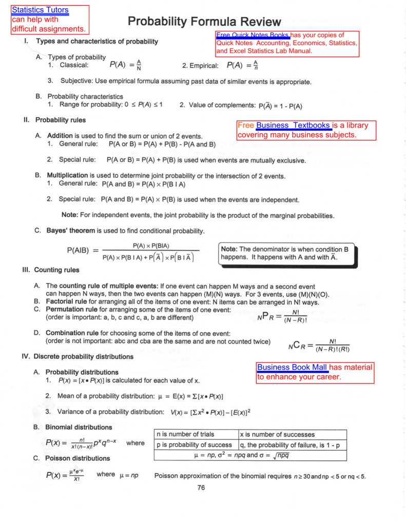 Probability Formula Review