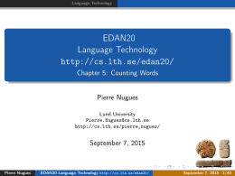EDAN20 Language Technology