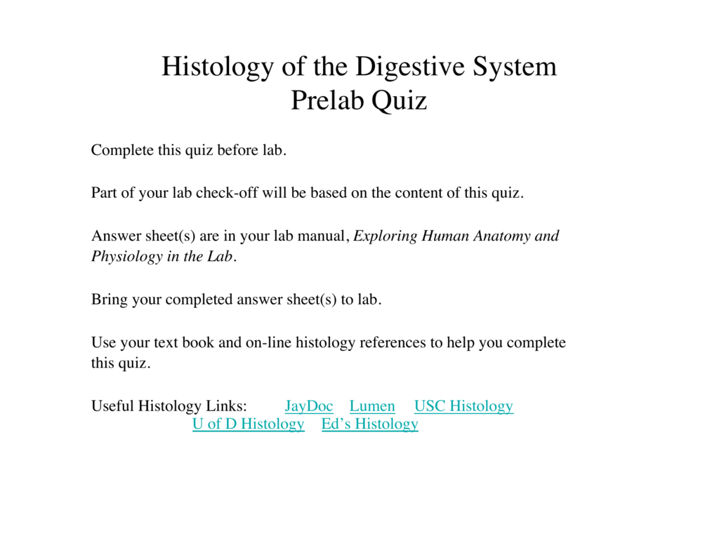 Histology Of The Digestive System Prelab Quiz Question Iii