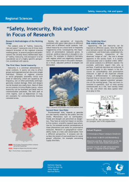 """Safety, Insecurity, Risk and Space"" in Focus of Research"