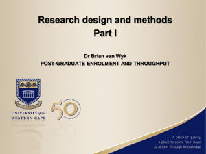 Research design and methods Part I