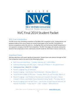NVC Final 2014 Student Packet - Miller New Venture Challenge