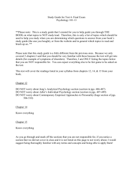 Study Guide for Test 4- Final Exam Psychology 101