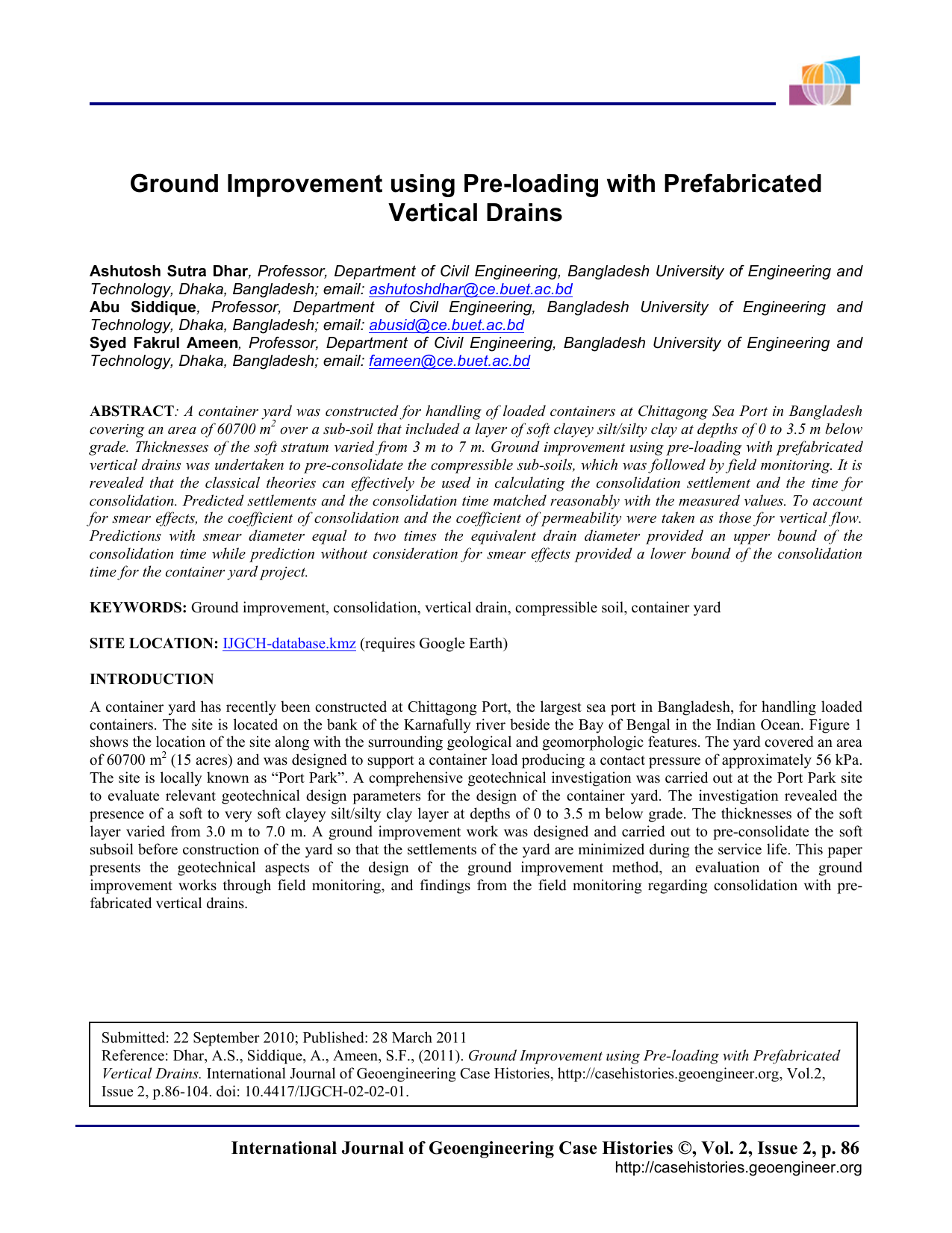 Ground Improvement using Pre-loading with Prefabricated Vertical