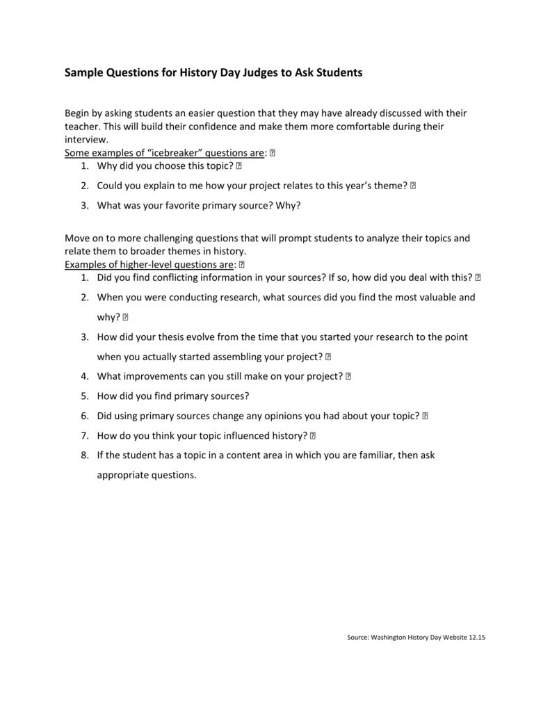 Sample Questions for History Day Judges to Ask Students