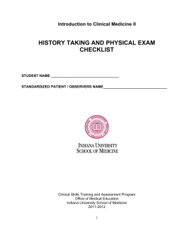 history taking and physical exam checklist