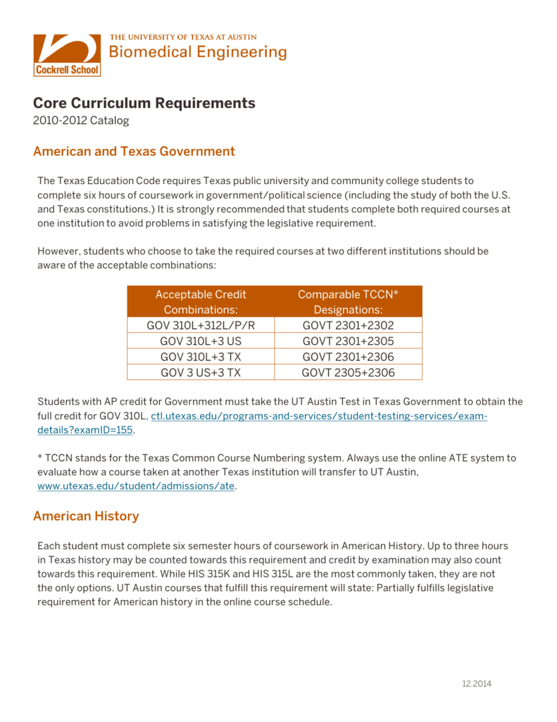 University Core Requirements for 10–12