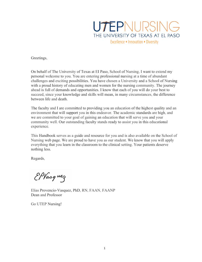 On behalf of The University of Texas at EI Paso