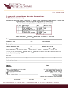 Transcript & Letter of Good Standing Request Form