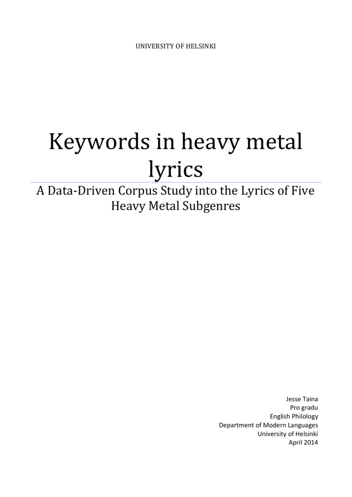 Keywords in heavy metal lyrics : A Data-Driven Corpus
