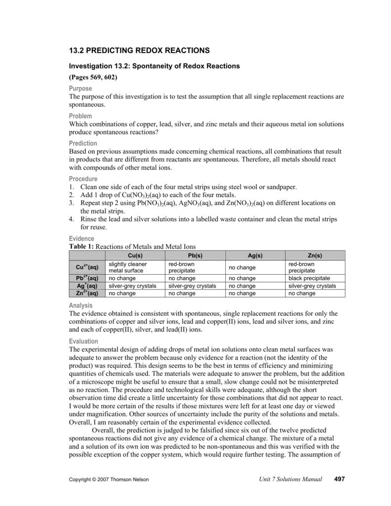13.2 predicting redox reactions