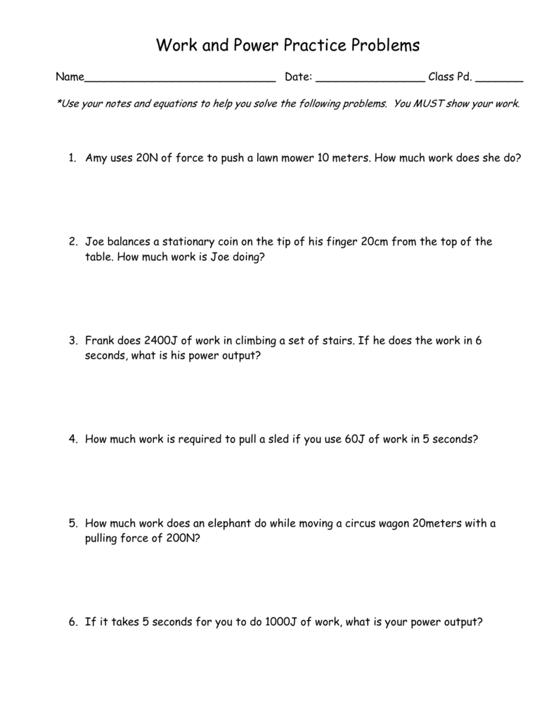 Worksheet On Work And Power Problems Answers Stay At Hand