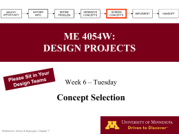 ME 4054W: DESIGN PROJECTS