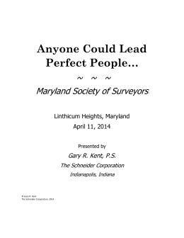 Leadership: Anyone Could Lead Perfect People