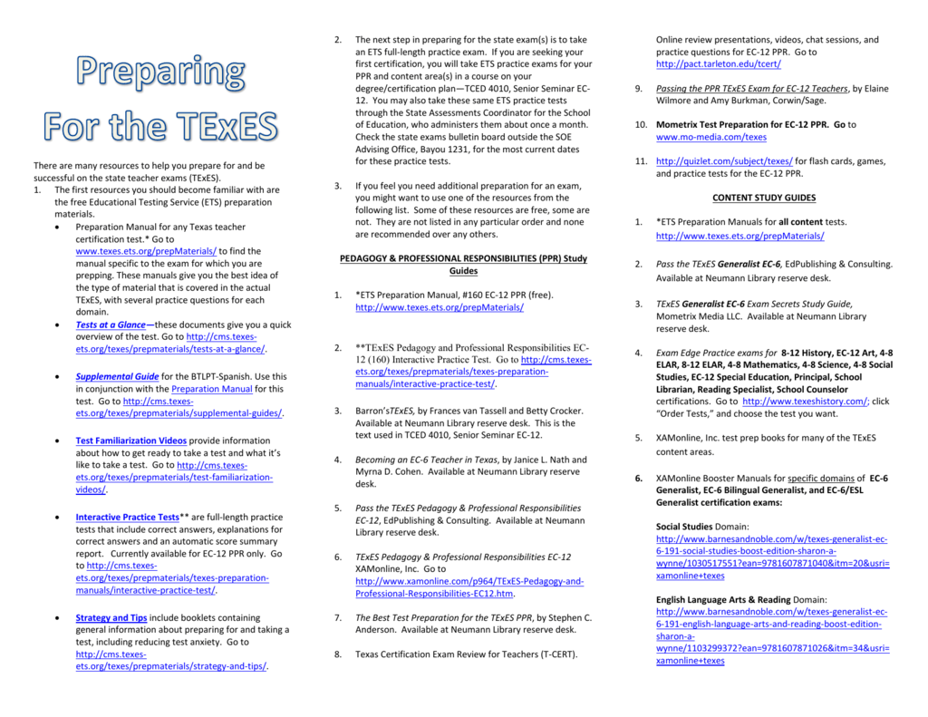 Resources To Prepare For Texes Exam