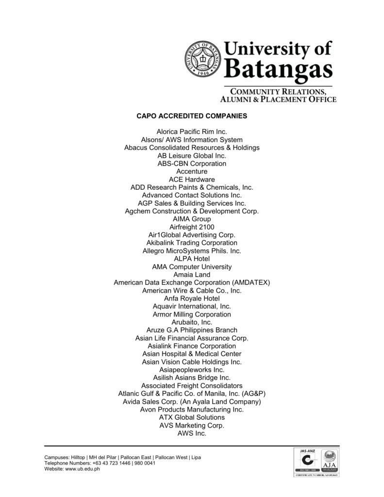 Capo Accredited Companies University Of Batangas
