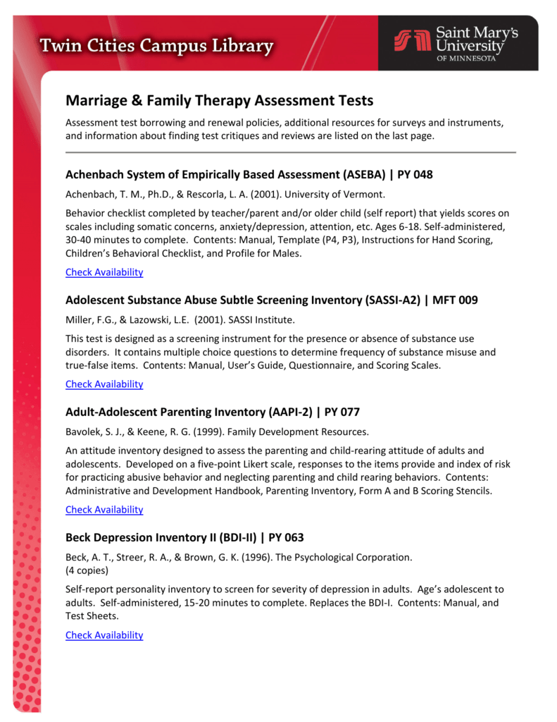 Marriage & Family Therapy Assessment Tests