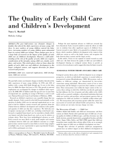 The Quality of Early Child Care and Children's Development