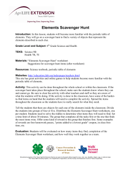 Lesson Plan: Elements Scavenger Hunt