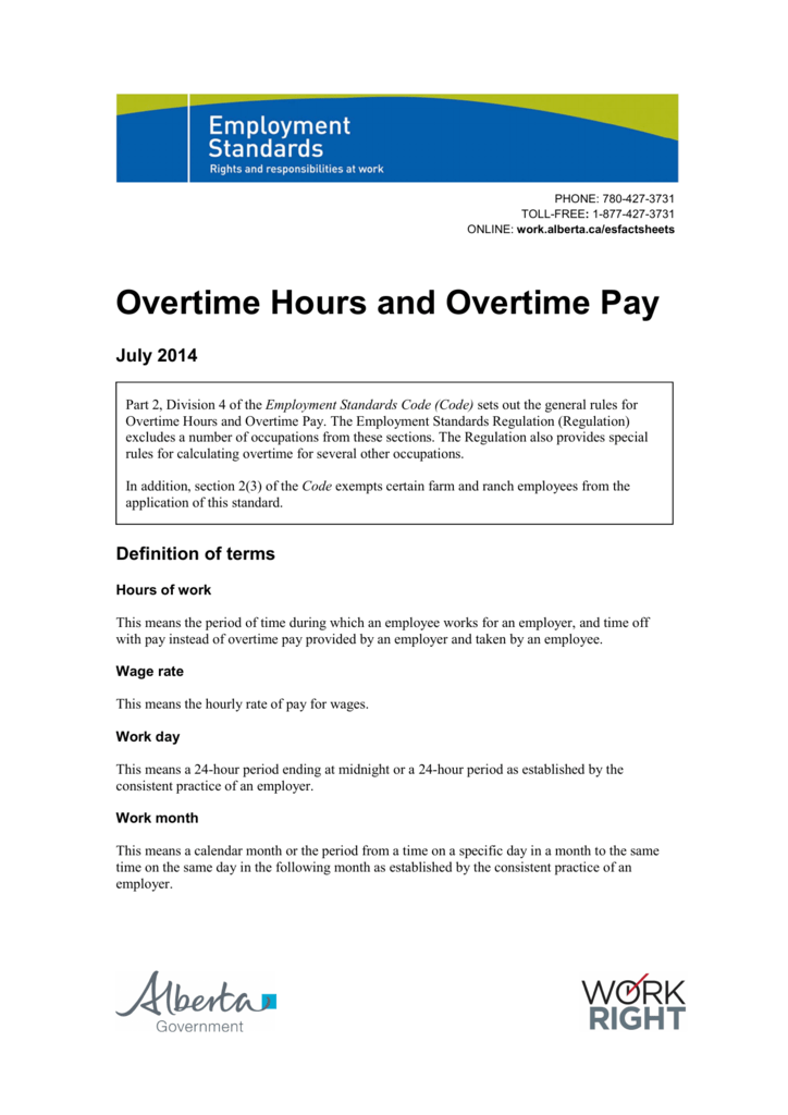 Overtime Hours and Overtime Pay - Alberta Jobs, Skills, Training