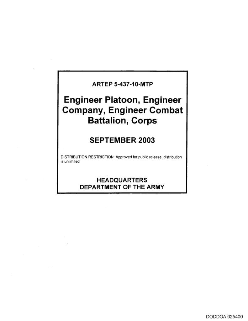 Engineer Platoon, Engineer Company, Engineer Combat Battalion