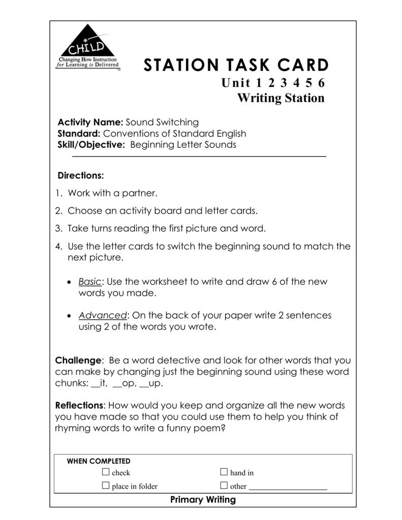 STATION TASK CARD