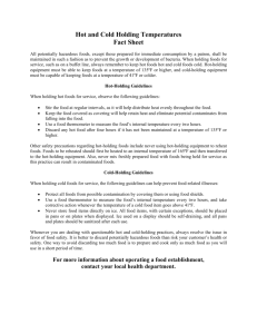 Hot and Cold Holding Temperatures Fact Sheet