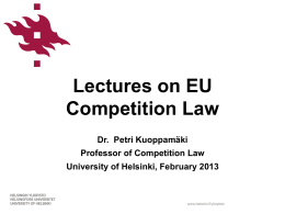 Lectures on EU Competition Law