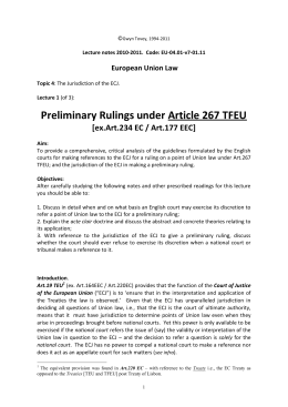 Preliminary Rulings under Article 267 TFEU