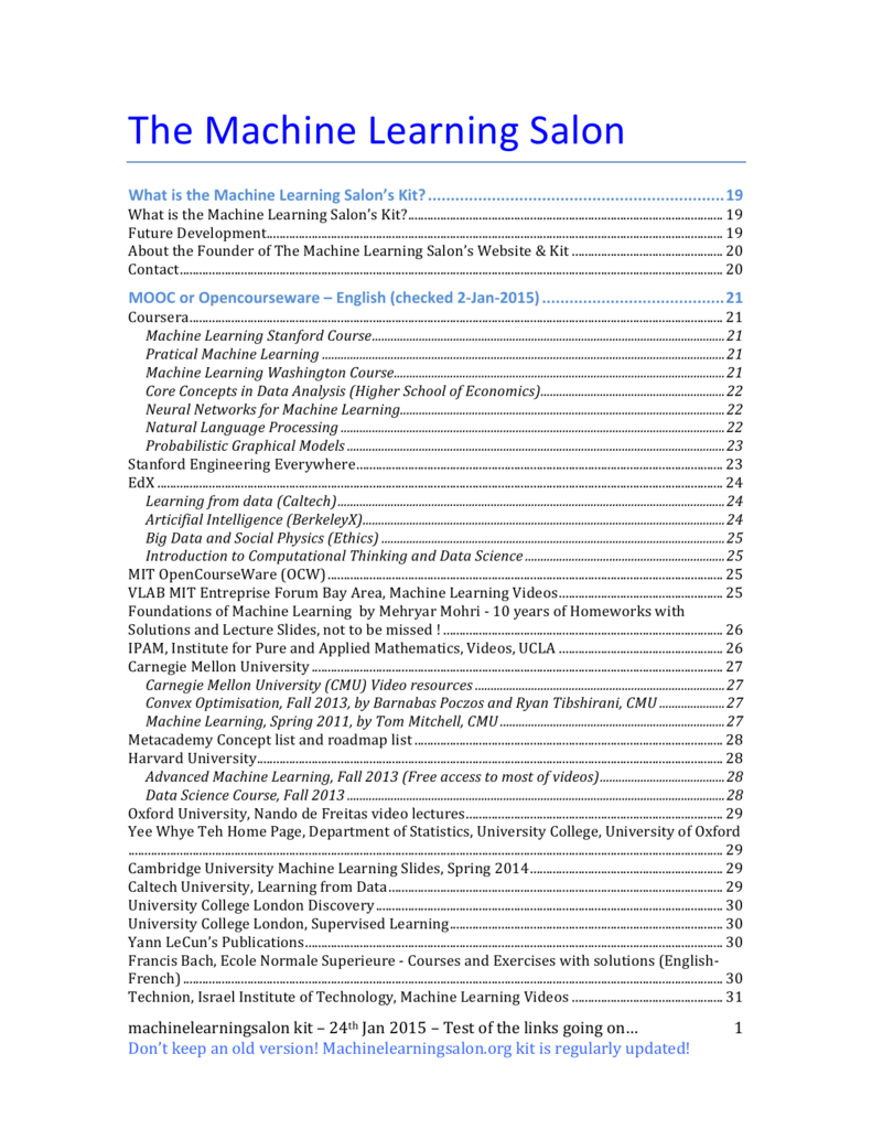 The Machine Learning Salon