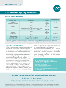 KASP thermal cycling conditions Science for a safer