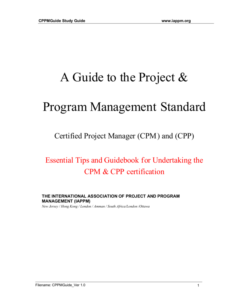 A Guide To The Project Program Management Standard