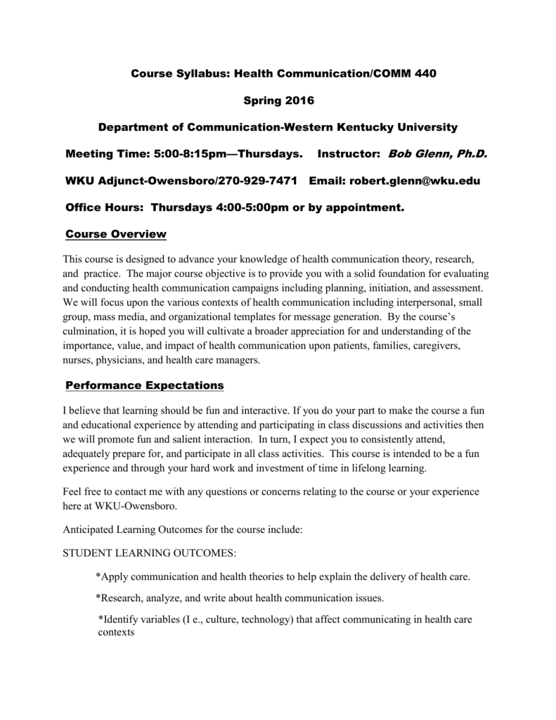 Health Communication - Western Kentucky University