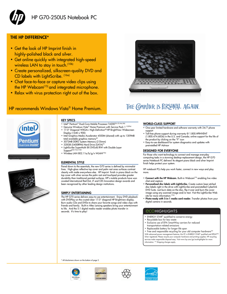 HP G70 250US DRIVERS FOR WINDOWS 7