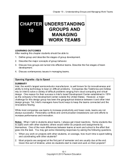 chapter 10 understanding groups and managing work teams