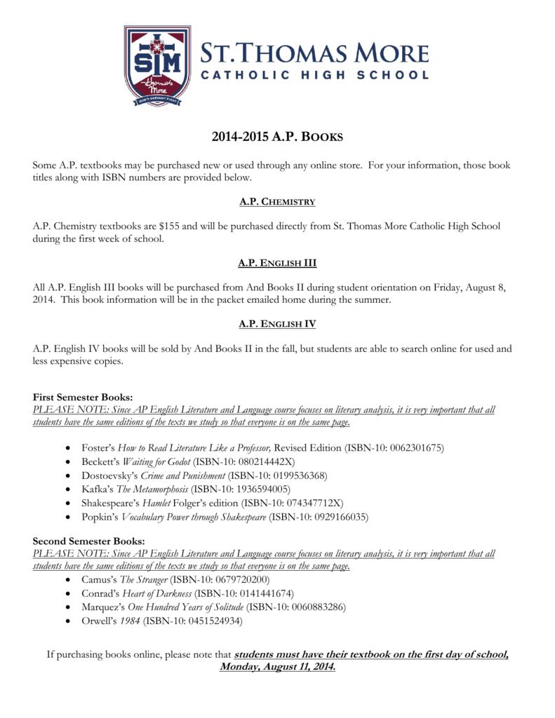 2014-2015 AP B - St  Thomas More Catholic High School