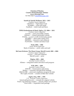 Chris O'Hanlon Resume 2013 - chris o'hanlon :: copywriter