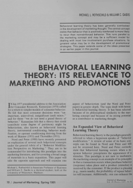 behavioral learning theory: its relevance to marketing and promotions