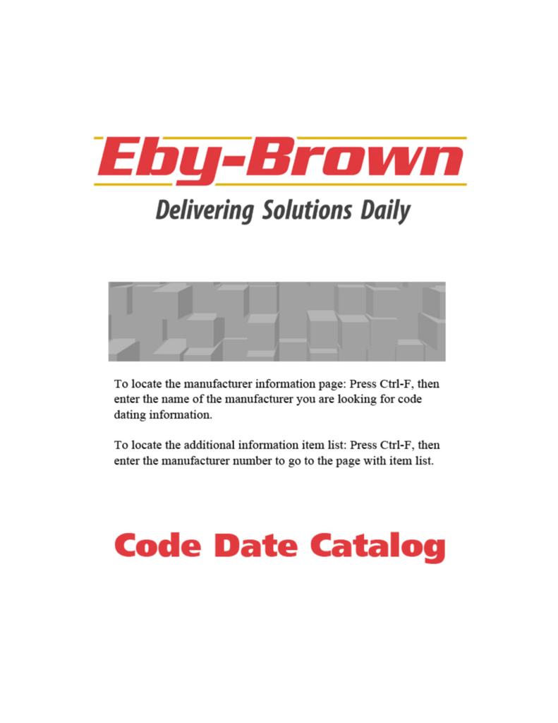 Code Date Catalog - Eby