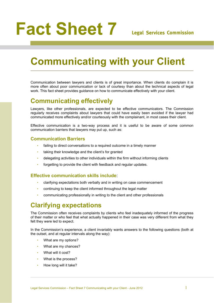 Communicating with your client
