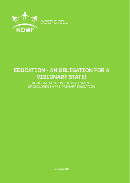Education - an obligation for a visionary statE!