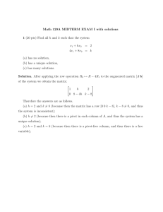 Math 129A MIDTERM EXAM I with solutions 1 (20 pts) Find all h and