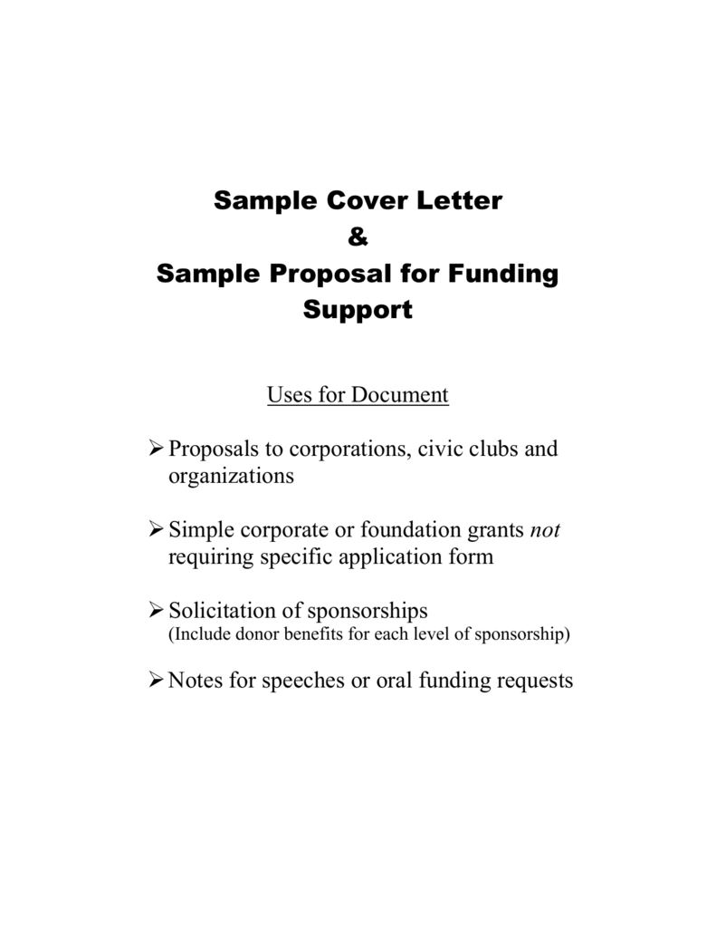 Sample Cover Letter & Sample Proposal for Funding