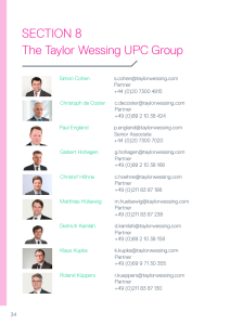 SECTION 8 The Taylor Wessing UPC Group