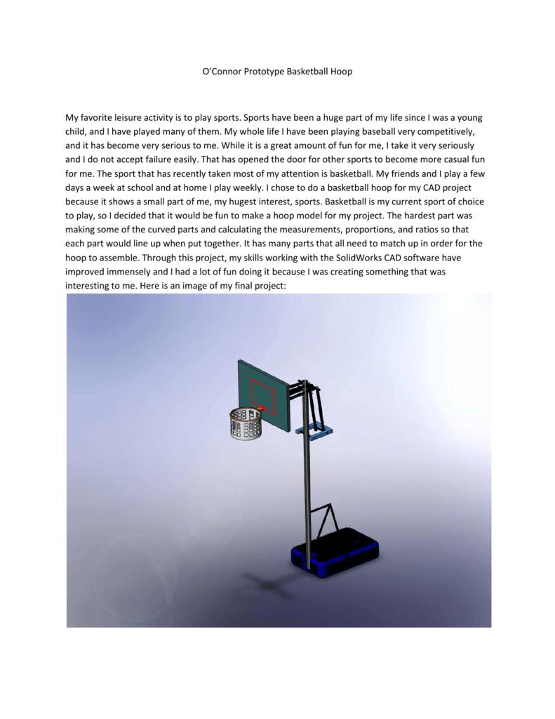 Oconnor Prototype Basketball Hoop My Favorite Leisure Activity Is To Diagram
