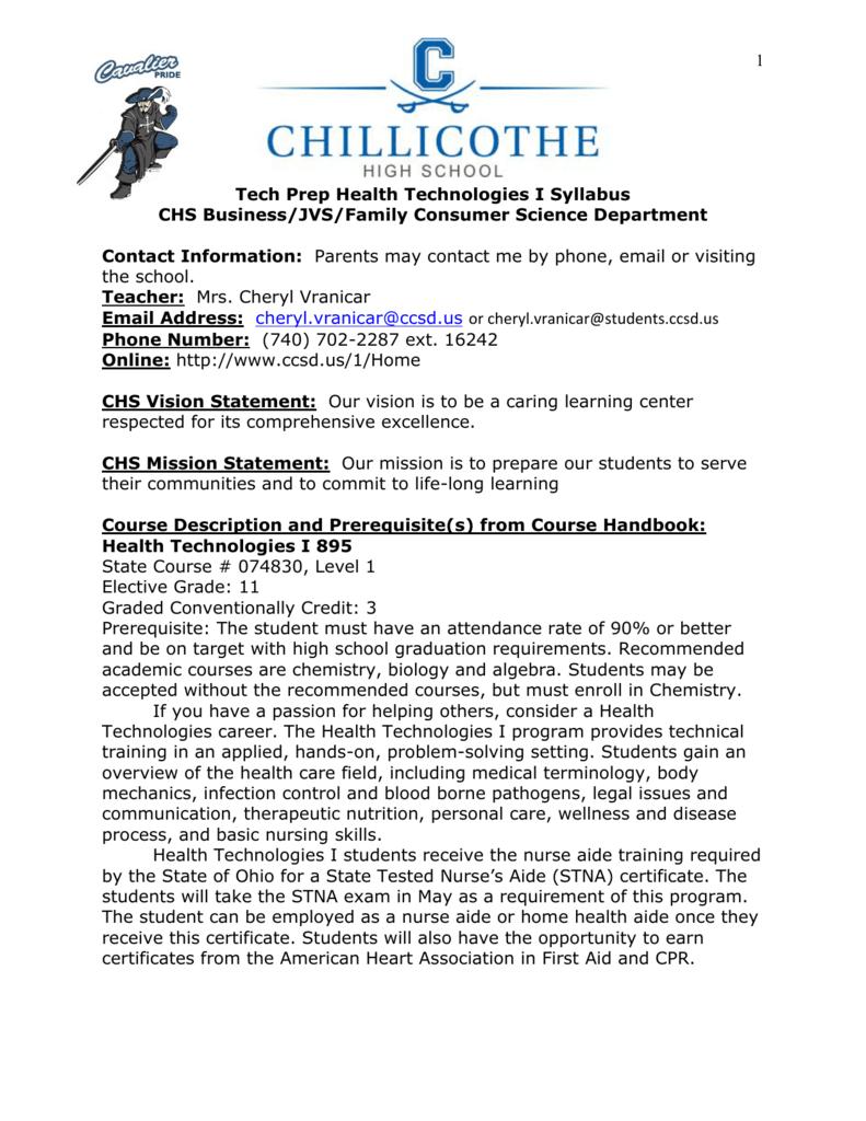 Health Technologies I Chillicothe City Schools